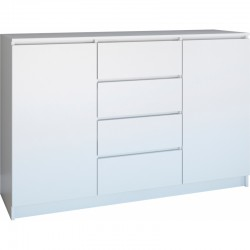CHEST OF DRAWERS 140  2 DOORS 4 DRAWERS WHITE