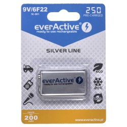 Rechargeable batteries everActive Ni-MH 6F22 9V 250 mAh Silver Line